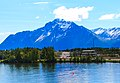 Parks Highway at Lake Wasilla shore and commercial district, Wasilla, Alaska, Pioneer Peak in background.jpg