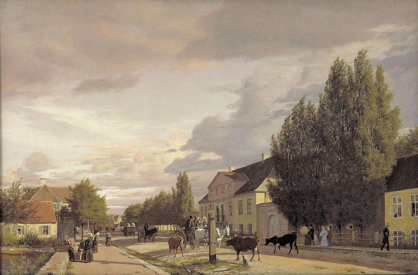 Élémetnts d'Østerbro dans l'éclairage du matin