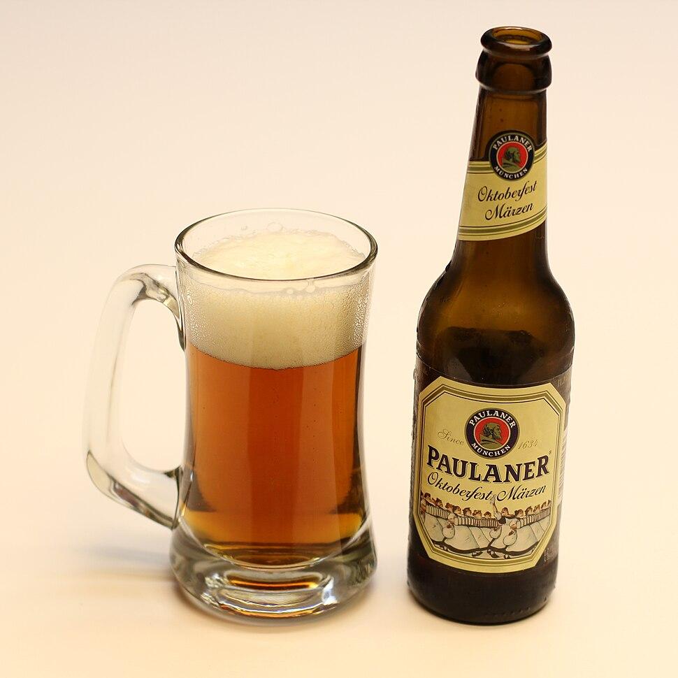 Paulaner Oktoberfest Marzen 11.2oz bottle and beer mug