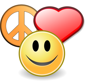 English: Peace, love and happyness