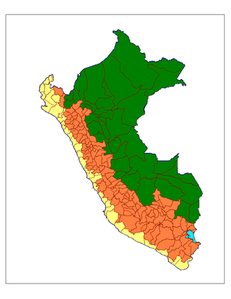 Provinces of Peru - Map of the Peruvian provinces coastal/mountain/jungle