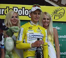 Sagan premiato in maglia di leader al Tour de Pologne 2011, da lui vinto