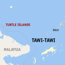 Map of تاوی تاوی showing the location of the Turtle Islands