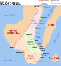 Political map of the province of Negros Oriental