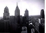 The Philadelphia skyline from City Hall looking towards Liberty Place (2005, before construction of Comcast Center).