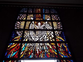 St. Francis Catholic Cemetery -  Stained glass window above the entrance of the mausoleum of the St. Francis Cemetery. The stained glass window was donated by the Basha family in memory of Eddie Basha, Sr..