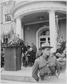 Photograph of Secretary of the Interior Julius Krug speaking at the dedication of Franklin D. Roosevelt's home at... - NARA - 199356.tif