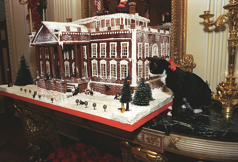 File:Photograph of Socks the Cat Standing Next to the Gingerbread Replica of the White House- 12-05-1993 (6461501333).jpg