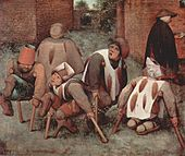 painting of a group of people, some missing feet, hunched over crutches as a beggar walks past