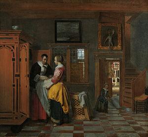 Two Women Beside a Linen Chest, with a Child - Image: Pieter de Hooch At the Linen Closet