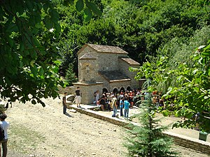 Bodbe Monastery - Pilgrims at the St. Nino Spring.