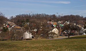 The western edge of Garfield seen from Allegheny Cemetery