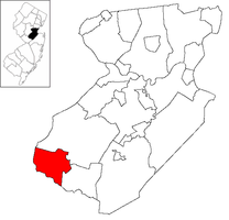 Location of Plainsboro Township in Middlesex County. Inset: Location of Middlesex County highlighted in the State of New Jersey.