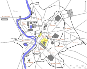 14 regions of Augustan Rome - Map of Ancient Rome with the regions