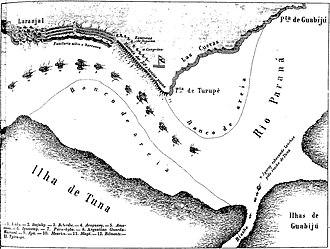 Battle of Paso de Cuevas - Image: Plano da passagem da Esquadra brasileira pelas barrancas de Turupi e Guabijú a 12 de agosto de 1865 (Semana Illustrada, n. 248)