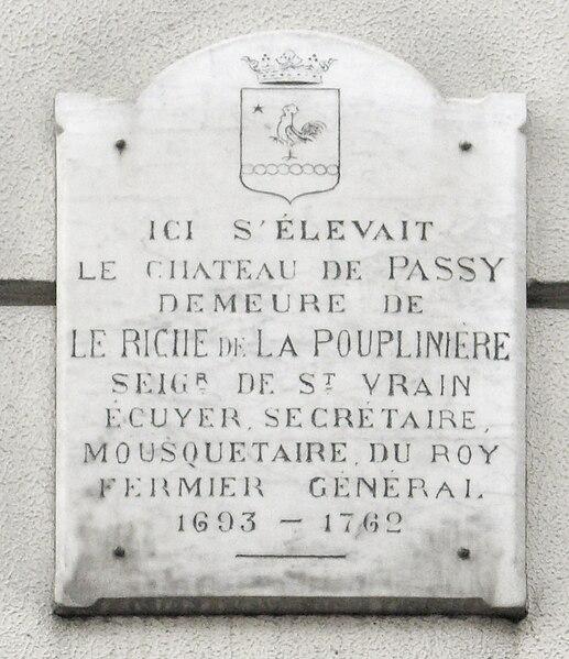 Fichier:Plaque Le Riche De La Pouplinière, 2 Rue Des