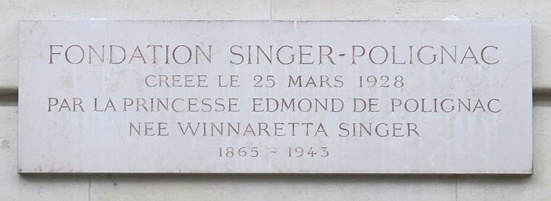File:Plaque fondation Singer-Polignac, 43 avenue Georges-Mandel.jpg