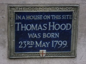 Thomas Hood - Plaque in Cheapside, City of London, marking the site of the house where Thomas Hood was born