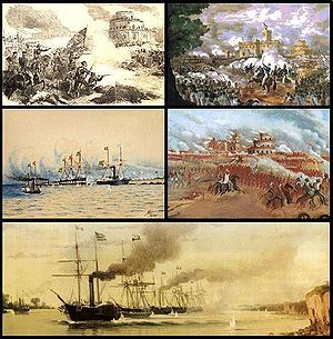 Scenes from various battles and naval engagements during the Platine War