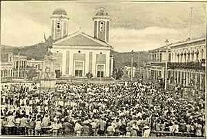 Mayagüez, Puerto Rico - Crowded Plaza de Colón in Mayaguez, 1907