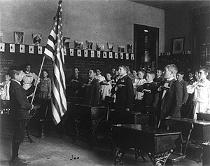 Pledge of Allegiance (United States) - Students reciting a pledge on Flag Day in 1899