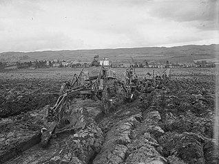 Ploughing with tractors