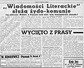 Pod Pręgierz, 1937 r. Wiadomości Literackie służą żydo-komunie.jpg