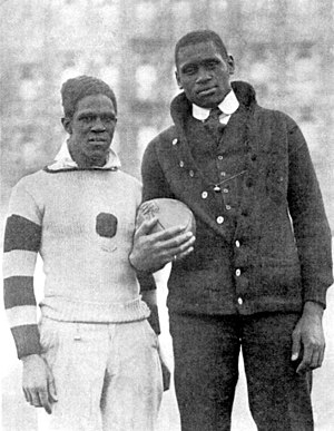 Fritz Pollard - Pollard (left) and Paul Robeson in a photo from the March 1918 issue of ''The Crisis''