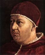 """Giovanni di Lorenzo de' Medici, Pope Leo X, by Raphael. Leo noted with satisfaction how """"fine and fat"""" Catherine was as a baby."""