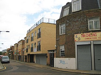 Somali diaspora - A Somali community center in London's East End (yellow brick building in the middle).