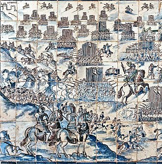 Portuguese Army - Partial depiction of the Battle of Montes Claros in a 17th-century azulejo panel at the Palace of Fronteira.