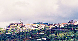 Portalegre, Portugal - View of Portalegre from the distance. The church on the left is the city's cathedral.