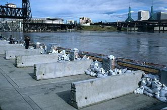 Willamette Valley Flood of 1996 - Temporary barriers and sandbags holding plywood panels in place at the seawall in downtown Portland