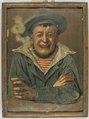 Porträtt-Glad sjöman med kritpipa i munnen och ett vinglas i vänstra handen - Sjöhistoriska museet - S 3657.tif
