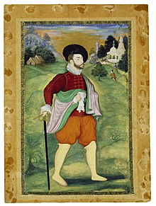 Portrait of a European painted by Mughal artists, Ca.1590