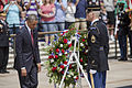 President Barack Obama, foreground left, steps back after laying a wreath at the Tomb of the Unknowns during the 145th annual Memorial Day ceremony at Arlington National Cemetery in Arlington, Va., May 27th 130527-D-HU462-157.jpg