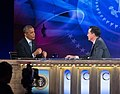 "President Barack Obama tapes an interview for ""The Colbert Report with Stephen Colbert"" at Lisner Auditorium at George Washington University in Washington, D.C. (cropped).jpg"