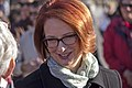 Prime Minister, Julia Gillard greeting the crowd at the Holbrook bypass open day.jpg
