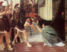 Illustration de la reconnaissance de Claudius comme empereur telle que décrite par Flavius Josèphe.(  Lawrence Alma-Tadema  ,   1867  )