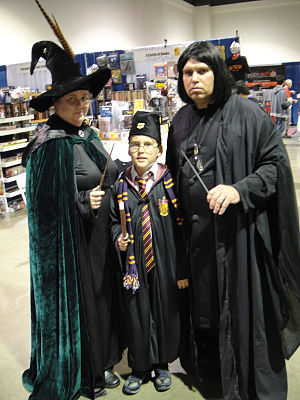 Fantasy fandom - Harry Potter fans dressed up in replica robes of Professor McGonagall, Harry Potter and Severus Snape.