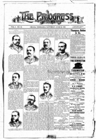 Media in Omaha, Nebraska - Cover page of The Progress, June 21, 1890