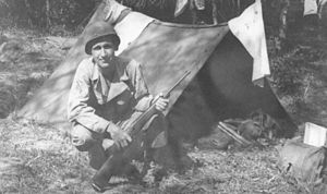 Shelter-half - U.S. Army pup tent in World War II, made with two shelter halves