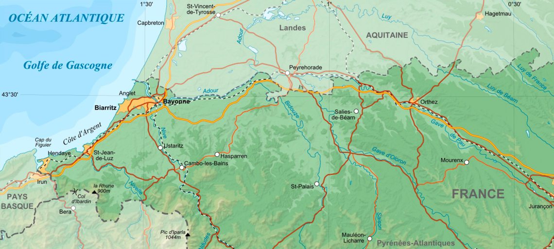 Map of Pyrenees-Atlantiques department shows Bayonne on the coast at left, Saint-Palais on the Bidouze at lower center and Soult's headquarters at Peyrehorade at upper center. Pyrenees-Atlantiques-fr-cropped.png