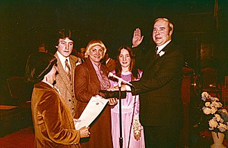 R. Budd Dwyer - Dwyer in 1984, being sworn in for his second term as Pennsylvania state treasurer.