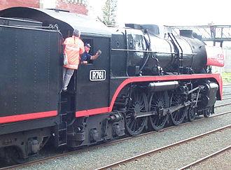 SCOA-P wheel - SCOA-P driving wheels on Victorian Railways R class 4-6-4 steam locomotive R 761.