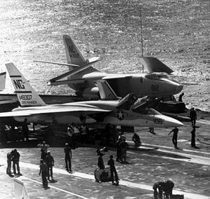 VAQ-132 - Image: RA 5C RVAH 5 and A 3B VAH 2 on USS Ranger (CVA 61) 1965