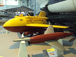 "Enzian - Messerschmitt ""Enzian"" missile (at the background in yellow and red) displayed at RAF museum Cosford"