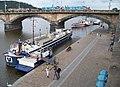 Rašínovo nábřeží a Palackého most, restaurační loď Kristian Marco a parník Vltava.jpg