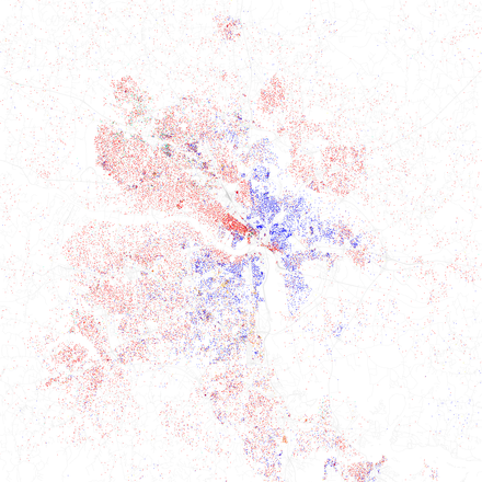 Map of racial distribution in Richmond, 2010 U.S. Census. Each dot is 25 people: White, Black, Asian, Hispanic or Other (yellow) Race and ethnicity 2010- Richmond (5560433168).png