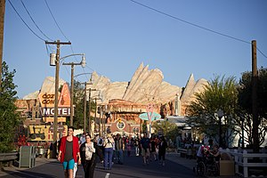 Cars Land - Looking down Route 66 in Cars Land